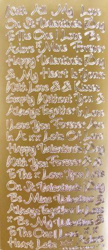 Loving Words Valentine Peel Offs Gold
