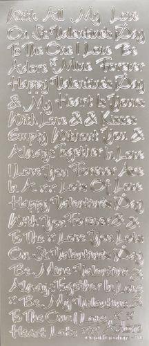 Loving Words Valentine Peel Off Stickers Silver