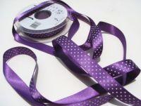 15mm Purple Polka Dot Ribbon