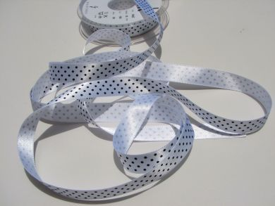 15mm White Polka Dot Ribbon