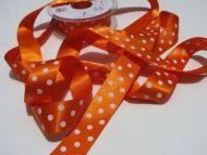 25mm Orange Polka Dot Ribbon