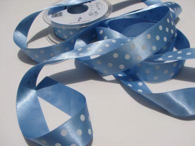 25mm Pale Blue Polka Dot Ribbon