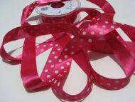 25mm Hot Pink Polka Dot Ribbon