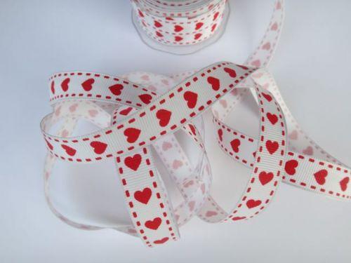 15mm White Heart Print Grosgrain Ribbon