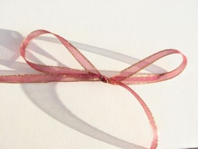 Gold Edged Burgundy Sheer Ribbon