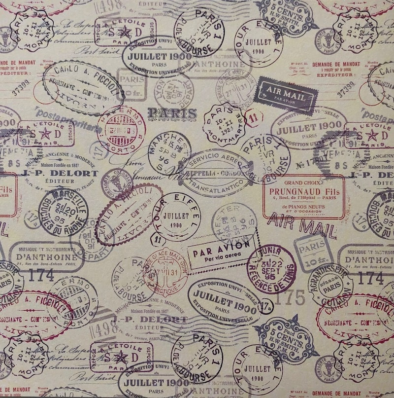 Assorted passport stamps patterned paper