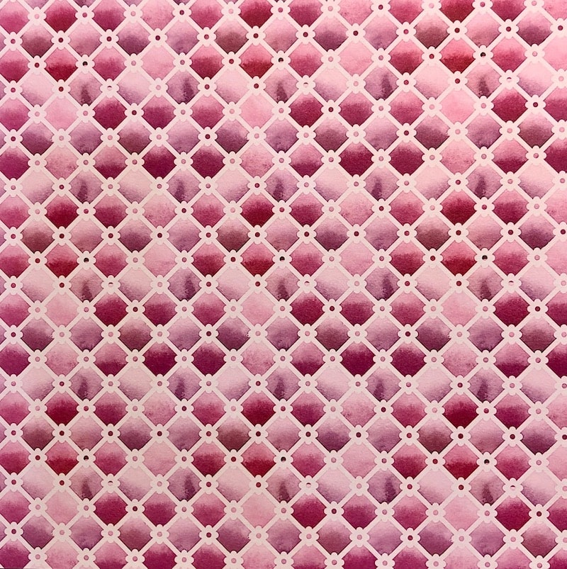 pink and purple watercolour trellis patterned paper