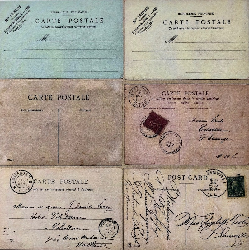 Vintage postcards patterned paper