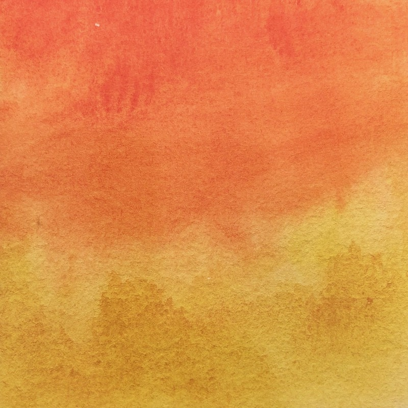 Yellow and orange watercolour wash background paper
