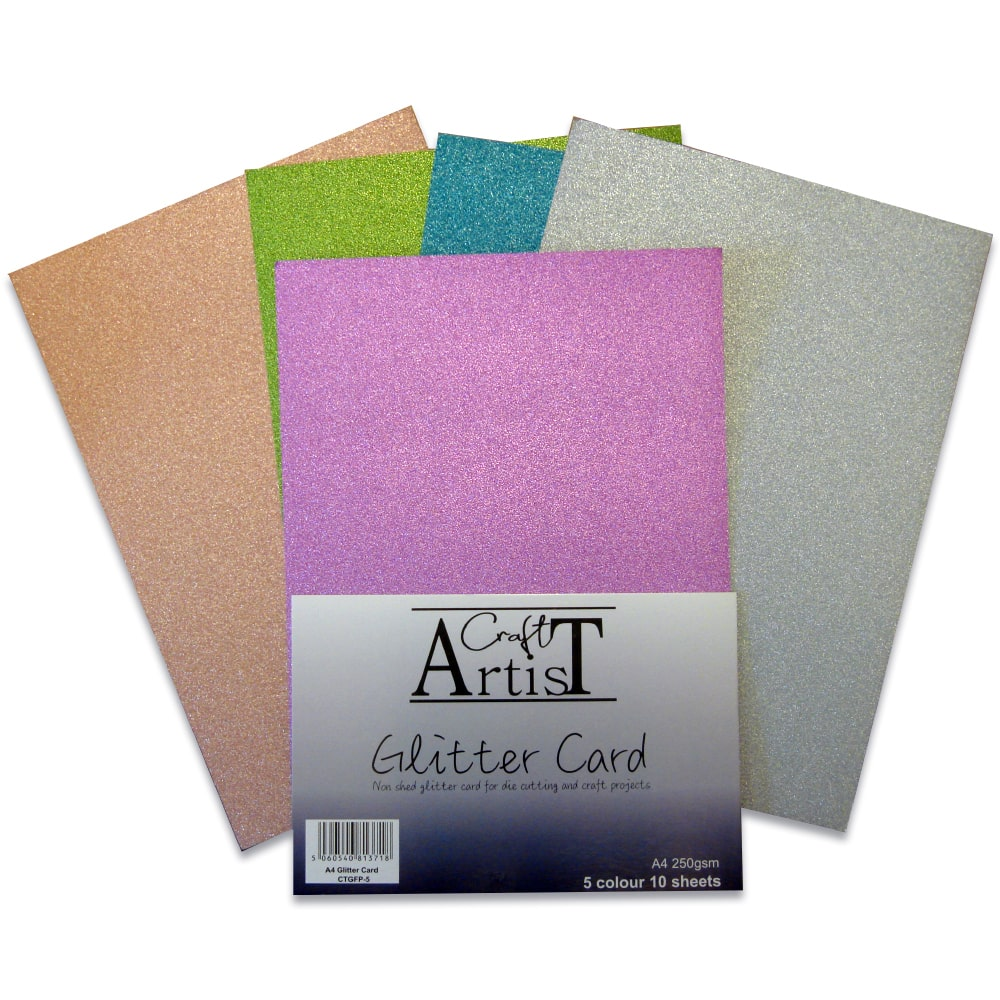 Pastel Baby Pink Glitter Card A4 soft touch low shed various pack sizes