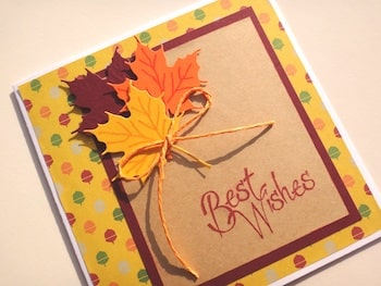 Hand made Best Wishes card with Autumn leaf bouquet