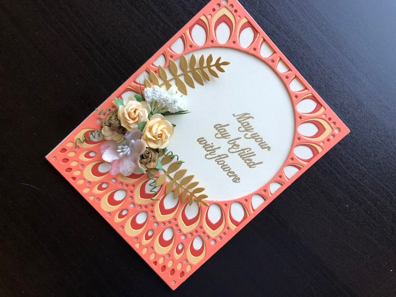 Hand made card with Birch Press Grace die and paper flowers and leaves