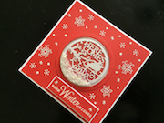 Christmas shaker card with die cut background and peel off decoration