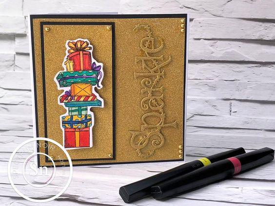 Hand made card using Presents stamp and die set