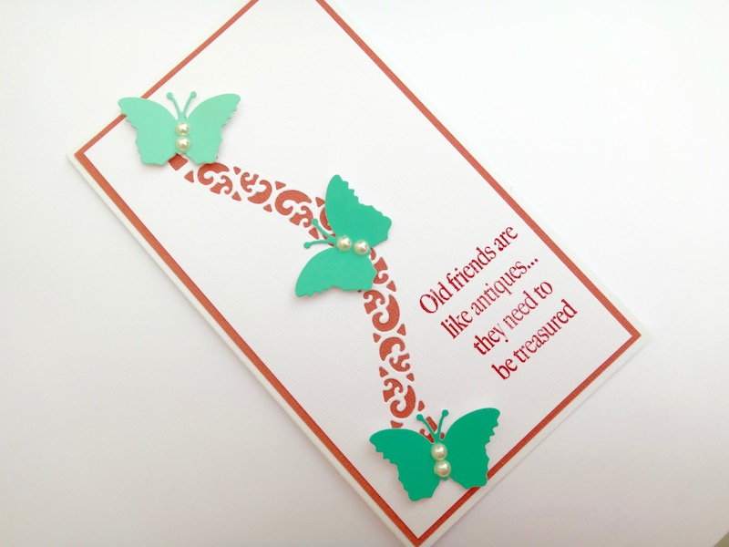 Curved Border Insert die friendship card with die cut butterflies