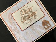 Hand made birthday card with hotfoil greeting and embellishment on marble paper