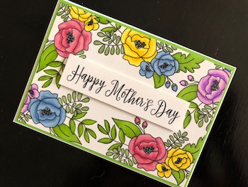 Hand made stamped and coloured Mothers Day card