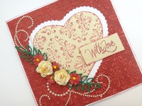 embossed heart handmade valentine card