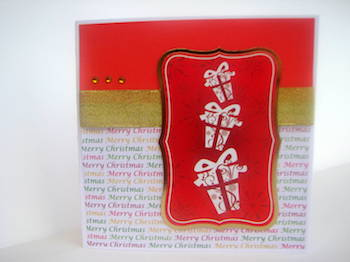 Christmas card with falling gifts die cut topper
