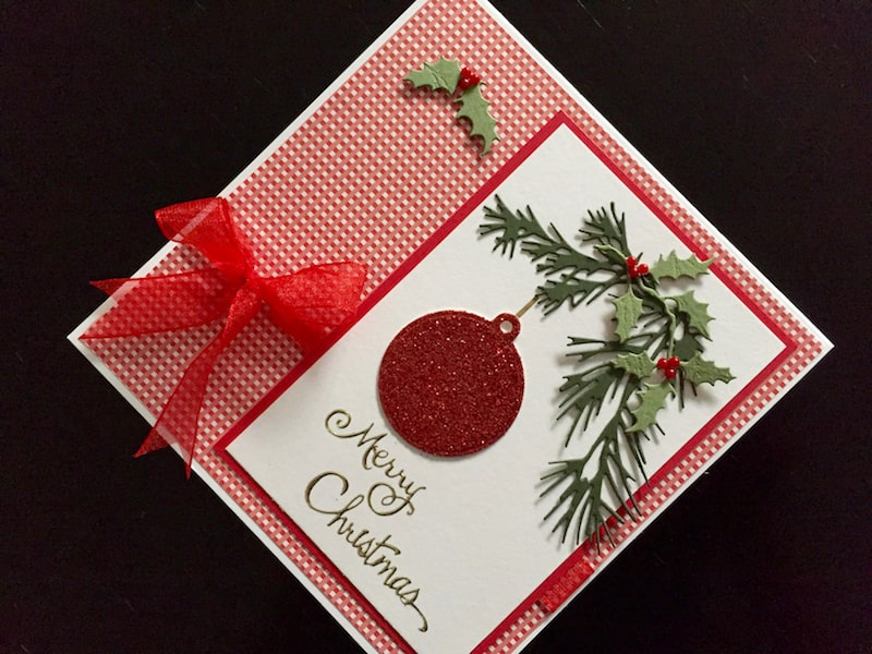 Christmas card with die cut winter foliage
