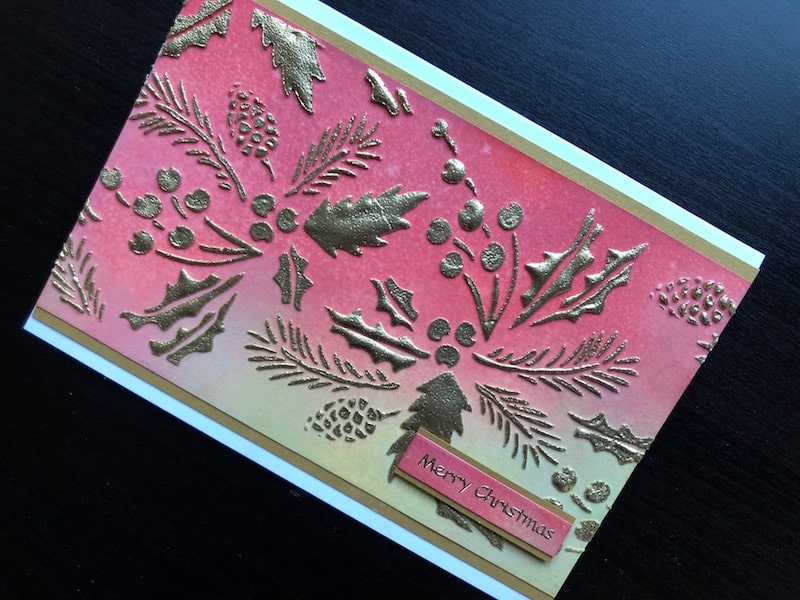 Christmas card with heat embossed, stencilled texture paste