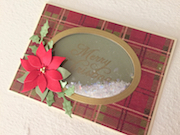 Hand made Christmas card with oval shaped shaker dome and die cut poinsettia