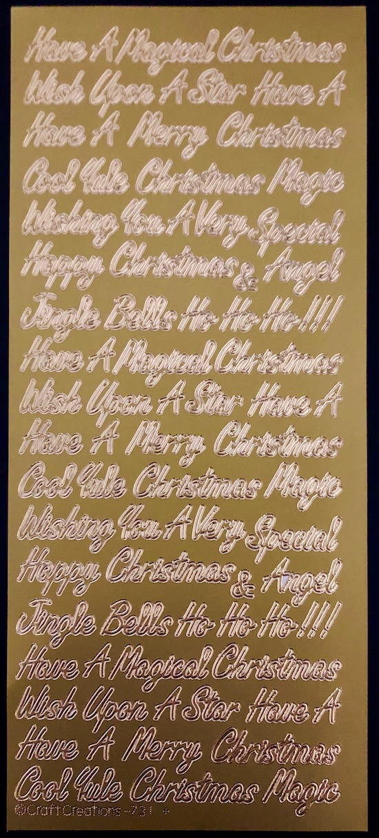 Gold Peel Offs Merry Christmas With Bell Embellishments