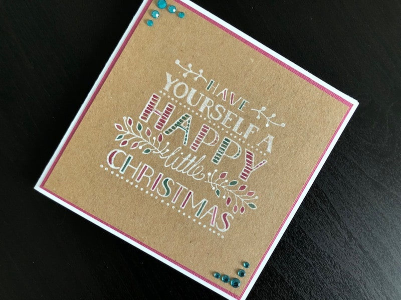 stamped hand drawn greeting Christmas card