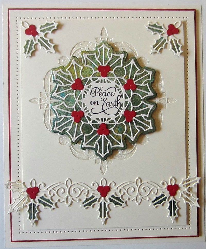 Christmas card using the Holly and Berry Border die