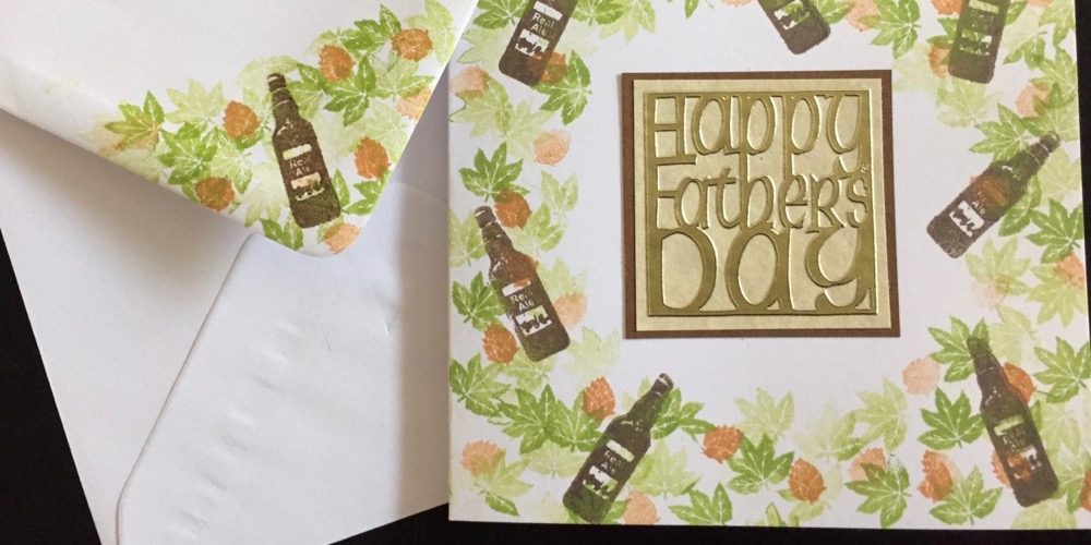 Hand made Fathers Day card with stamped beer bottles